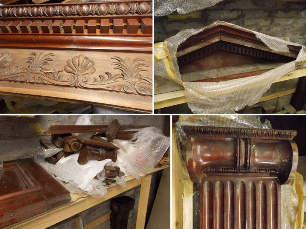 Dismantled ark from Greenville Hall in storage
