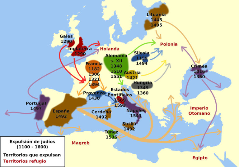 Map showing the expulsion of the Jews by territories